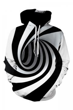 0c3f3c75abea Unique 3D Digital Whirlpool Printed Long Sleeve Black and White Hoodie