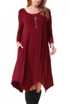 Simple Long Sleeve Round Neck Plain Casual Shift Midi Dress