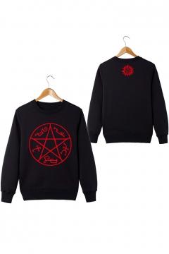 Fashionable Long Sleeve Round Neck Supernatural Logo Printed Cotton Pullover Sweatshirt