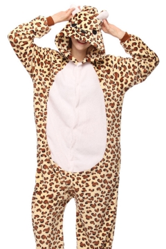 110352791b Unisex Coral Fleece Leopard Cosplay Carnival Onesie Pajamas for Adult