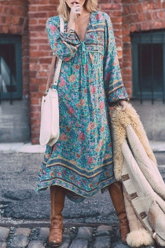 3d18bed401 Chic Boho Style Green Floral Printed Long Sleeve Lace-Up V Neck Maxi Beach  Dress