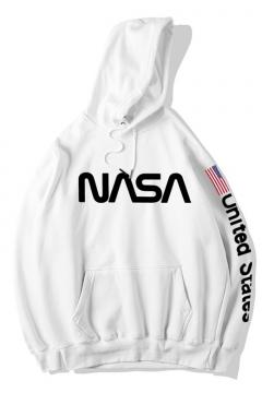 Letter NASA Printed Long Sleeve Hip Hop Style Hoodie for Men
