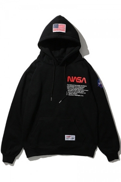 Oversize Long Sleeve Letter NASA Printed Unisex Chic Hoodie for Couple