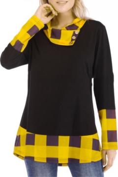 Popular Black Plaids Pattern Patchwork Button Cowl Neck Women's Tee