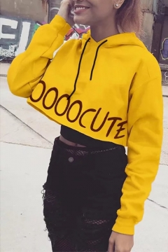 Unique Yellow Large Letter Print Long Sleeves Cropped Drawstring Hoodie
