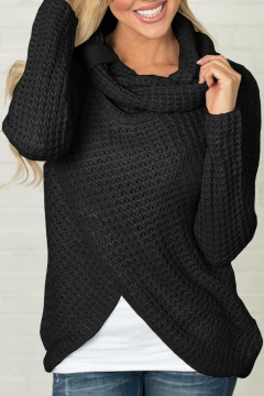 Fashion Long Sleeve Cowl Neck Plain Asymmetric Hem Knit Sweater