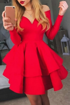 Sexy Long Sleeve V Neck Plain Party Evening Red Mini A-Line Dress