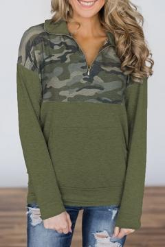 Popular Army Green Half-Zip Placket Camo Patchwork Women's Pullover Sweatshirt