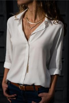 Office Lady Long Sleeve Lapel Collar Plain Button Down Chiffon Shirt
