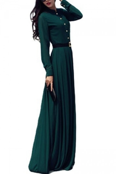 ecdab60f2c7 Vintage Green Stand Collar Long Sleeve Button Front Belted Waist Floor  Length A-Line Dress