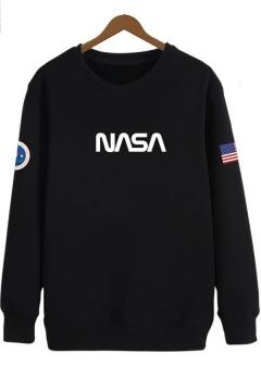 American Flag Letter NASA Printed Round Neck Long Sleeve Casual Sweatshirt