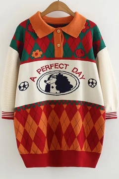 ee0000d05a Lapel Collar Button-Embellished Geometric Letter A PERFECT DAY Printed Long  Sleeve Leisure Orange Tunics