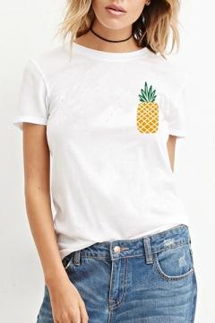 Leisure Pineapple Printed Short Sleeve Round Neck Slim Tee