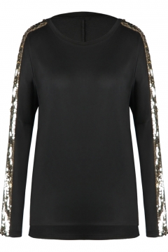 Fashionable Black Sequined Long Sleeves Round Neck Autumn Tee