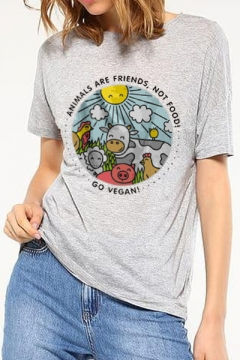 Summer's New Arrival Short Sleeve Round Neck Letter Cartoon Animal Printed Tee