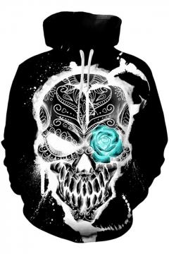 aa1e993f2519 3D Loose Unisex Hot Popular Long Sleeve Skull Printed Black Hoodie