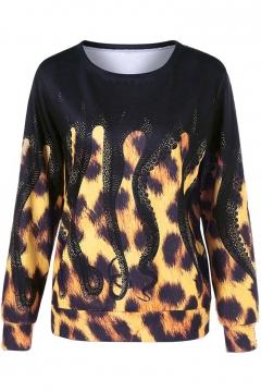 Cool Leopard Octopus Pattern Round Neck Long Sleeves Pullover Sweatshirt