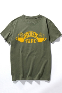 Classic Short Sleeve Round Neck LETTER CENTRAL PERK Coffee Cup Printed Unisex Tee