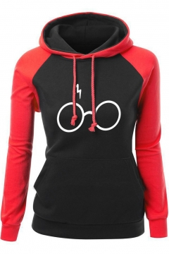 Colorblock Long Sleeve Glass THE Flash Printed Sports Hoodie