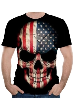 Colorblock Star Flag Skull Printed Short Sleeve Round Neck Black Tee