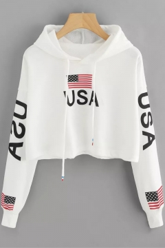 Chic Drawstring Hood Long Sleeve USA Flag Print Relaxed Cropped Hoodie for Girls