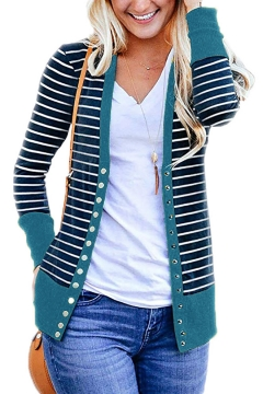 Trendy Blue Button Front Long Sleeve Striped Patchwork Knitted Cardigan for Women