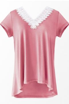 Pop Fashion Pink V-Neck Lace Trimmed Short Sleeves Summer T-shirt