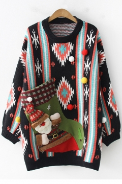 715e257446 Fashion Cartoon Santa Clause Patched Striped Geometric Printed Round Neck  Long Sleeve Tunic Sweater