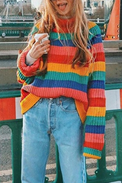Colorful Stripes Printed Long Sleeve High Neck Red Loose Sweater