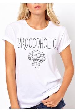 Cartoon Vegetable Letter BROCCOHOLIC Printed Short Sleeve Round Neck Cotton Tee
