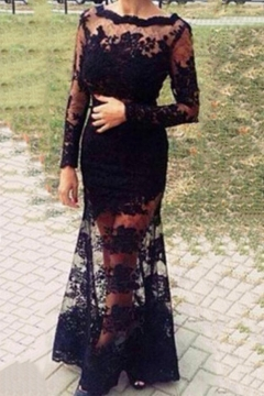 a68857eff6 Boat Neck Long Sleeve Lace Patch Plain Sexy Open Back Bodycon Maxi Dress