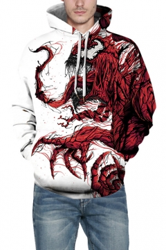 Cool 3D Venom Pattern Loose Casual Relaxed Pullover White Hoodie