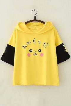 Lovely Cartoon Pikachu Printed Short Sleeve Colorblock Yellow Hoodie