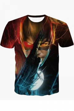 The Flash Cool 3D Printed Round Neck Short Sleeve Fitted Brown T-Shirt
