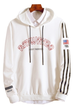 Unique American Flag Striped Long Sleeve Letter Print Front Fitted Drawstring Hoodie for Guys