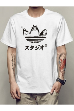 White Cartoon Totoro Japanese Character Print Short Sleeve Relaxed T-Shirt