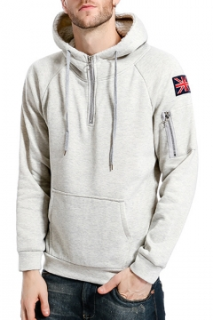 Cool Flag Patched Zip Pocket Long Sleeve Half-Zip Front Men's Casual Pullover Hoodie