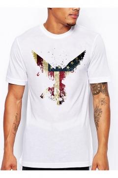 Men's Stylish Flag Eagle Printed Crewneck Short Sleeve White T-Shirt