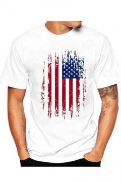 Funny American Flag Printed Crewneck Short Sleeve Men's Loose White T-Shirt