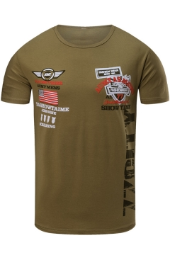 Men's Military Letter Flag Printed Crewneck Short Sleeve Fitted Graphic T-Shirt