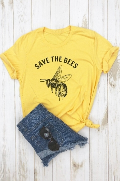 New Arrival Short Sleeve Round Neck Bee Letter SAVE THE BEES Printed Yellow Tee