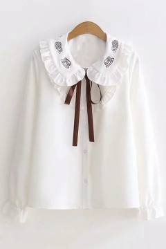 17d2860b998fca White Cartoon Embroidered Long Sleeve Peter Pan Collar Tie Front Button  Down Shirt