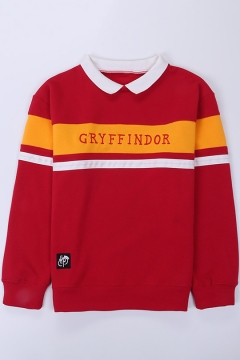 Fashion Letter GRYFFINDOR Print Colorblock Lapel Collar Long Sleeve Pullover Sweatshirt