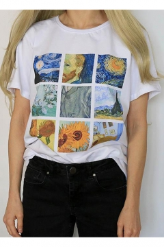 Popular Van Gogh Oil Painting Print Round Neck Short Sleeve White T-Shirt