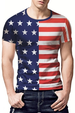 Men's Stylish Striped Star Flag Printed Red and Blue Casual T-Shirt