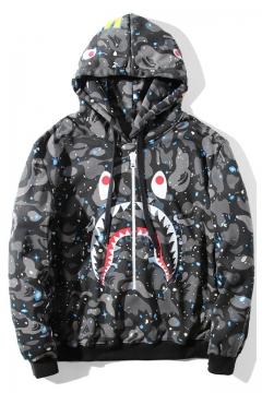 Popular Shark Mouth Print Classic Camouflage Long Sleeve Black Drawstring Zip Hoodie