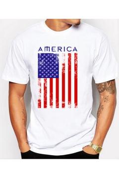 Trendy America Flag Printed Basic Round Neck Short Sleeve White T-Shirt