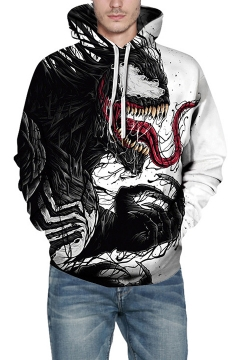 New Popular 3D Venom Printed White Long Sleeve Loose Relaxed Hoodie with Pocket