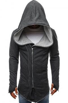 Men's New Arrival Fashion Basic Solid Long Sleeve Fitted Full Zip Up Hoodie