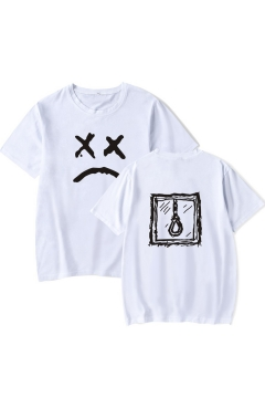 Popular American Rapper Sad Face Rope Printed Summer Casual Loose T-Shirt for Boys